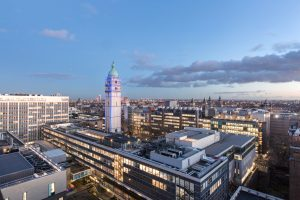 A view of the South Kensington Campus and the Queen's Tower, early on a winter's evening.