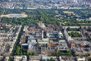 An aerial photograph of the South Kensington Campus and the surrounding area, including landmarks such as the Natural History Museum, the Science Museum, the Royal Albert Hall and Hyde Park.